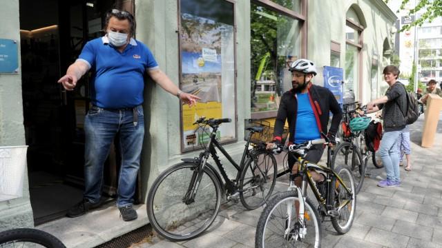 Ansturm auf Fahrradläden in München während der Coronakrise, 2020