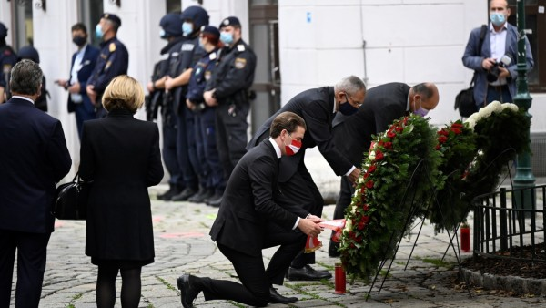 Wreath laying ceremony after gun attack in Vienna