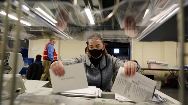 US-Wahl 2020: Szene aus einem Wahllokal in Pennsylvania