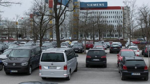 Siemens-Parkplatz in München, 2020