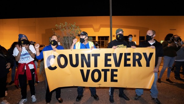 'Stop the Steal' protest at the Clark County Election Center in North Las Vegas