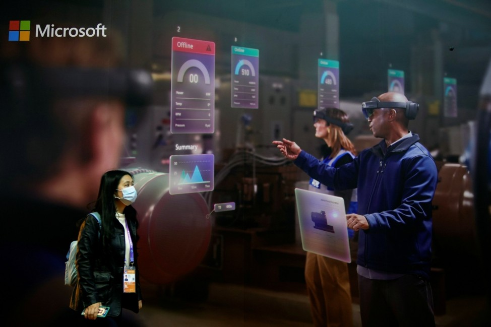 A Microsoft sign is seen at the third China International Import Expo (CIIE) in Shanghai