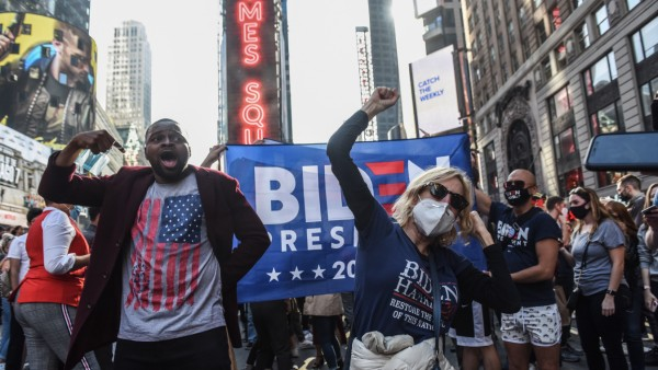 Supporters Of Joe Biden Celebrate Across The Country, After Major Networks Projection Him Winning The Presidency