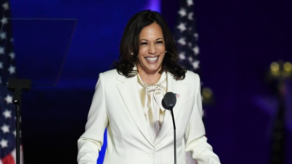 Vice President-elect Kamala Harris speaks after her victory with President-elect Joe Biden over Republican President Do