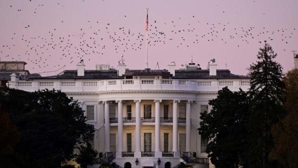 Birds fly over the White House at dusk, the day after a presidential election victory was called for former Vice President Joe Biden, in Washington