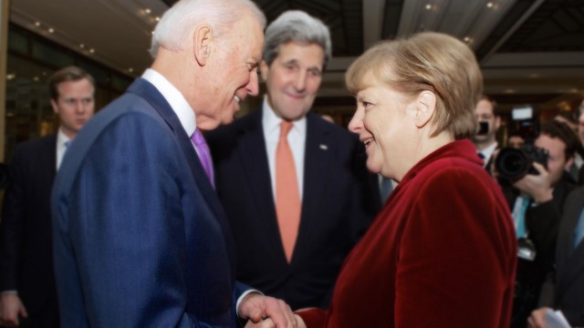Feb. 7, 2015 - Munich, Germany - U.S. Vice President Joe Biden and Secretary of State John Kerry greet German Chancello
