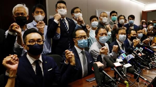 Pan-democratic legislators announce to resign from the Legislative Council, in Hong Kong