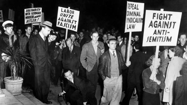 Demonstration gegen antisemitische deutsche Politik, 1939