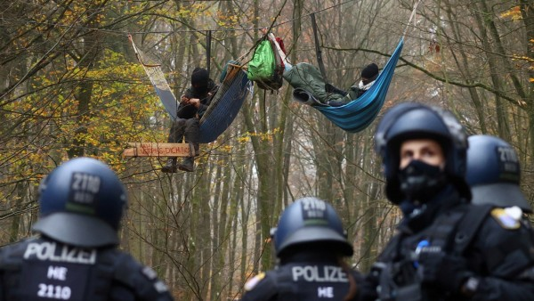 Protest against the extension of the A49 motorway, in a forest near Stadtallendorf
