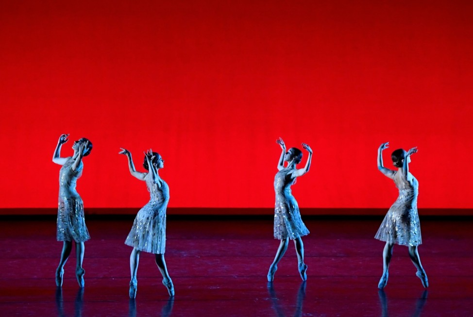 Dancers perform during 'The Royal Ballet: Live, Within the Golden Hour' live streamed performance at the Royal Opera House in London