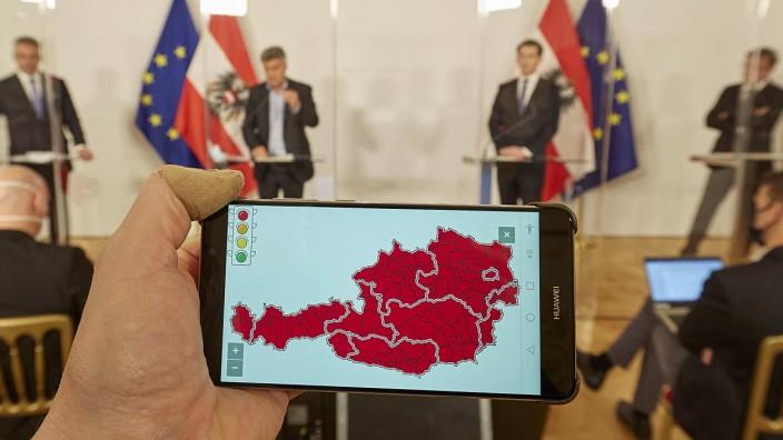 - Wien 14.11.2020 - Corona-Krise - Heute am Nachmittag fand im Bundeskanzleramt eine Pressekonferenz der Regierungsspit