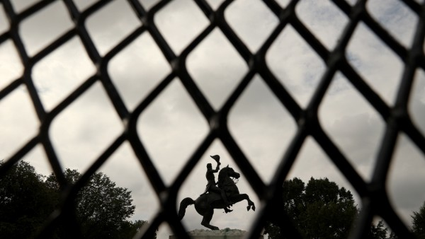 US President Andrew Jackson Statue Remains Behind Fence