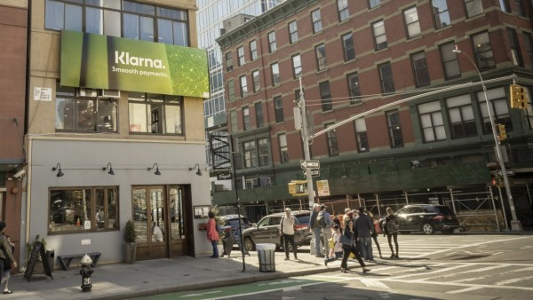 Advertising for Klarna in New York A billboard in Soho in New York advertises the Swedish online payment processor, Kla