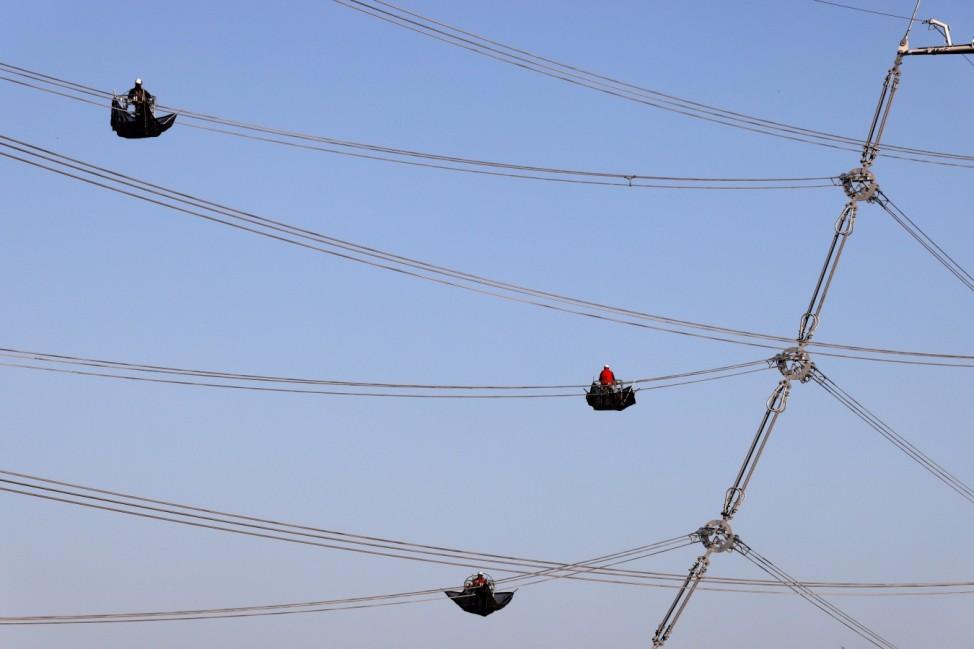 New RTE (Electrecity Transport Network) high voltage power line near Douai
