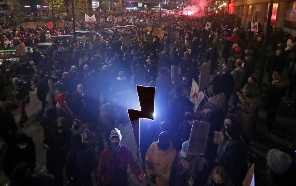 Women's Strike protest in Warsaw