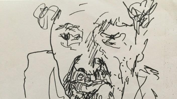 Tintenzeichnung von Jonas Geist - Liebe Bildgewaltigen,  bitte anhängende Zeichnungen für Polopoly Feu sichern, die erste Zeichnung brauchen wir dringend morgen 19.11.2020 für ein Stück, das ich redigiere vom Schauspieler Hanns Zischler. AG