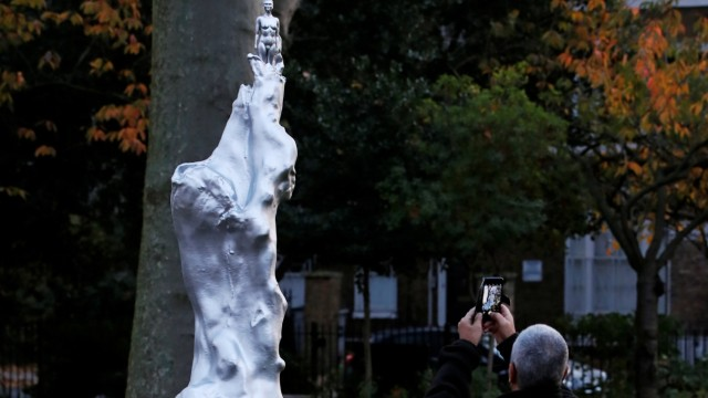 The Mary Wollstonecraft statue 'Mother of feminism' by artist Maggi Hambling is pictured in Newington Green, London