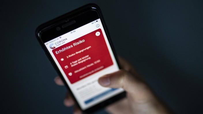 Die Corona-App zeigt an erhöhtes Risiko