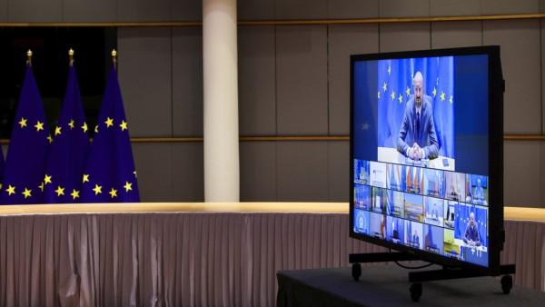 EU-Ratspräsident Charles Michel bei einer Videokonferenz