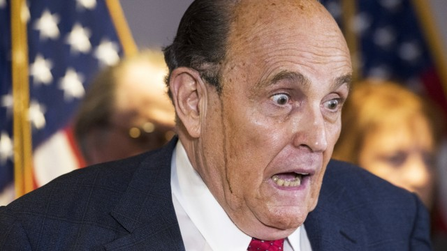 November 19, 2020, USA: Former Mayor Rudy Giuliani (Republican of New York, New York) conducts a press conference at Re