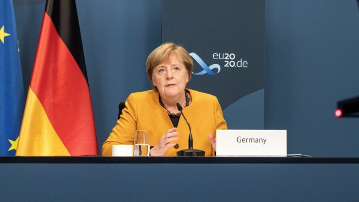 German Chancellor Merkel takes part in a video conference during the G20 Leaders' Summit 2020