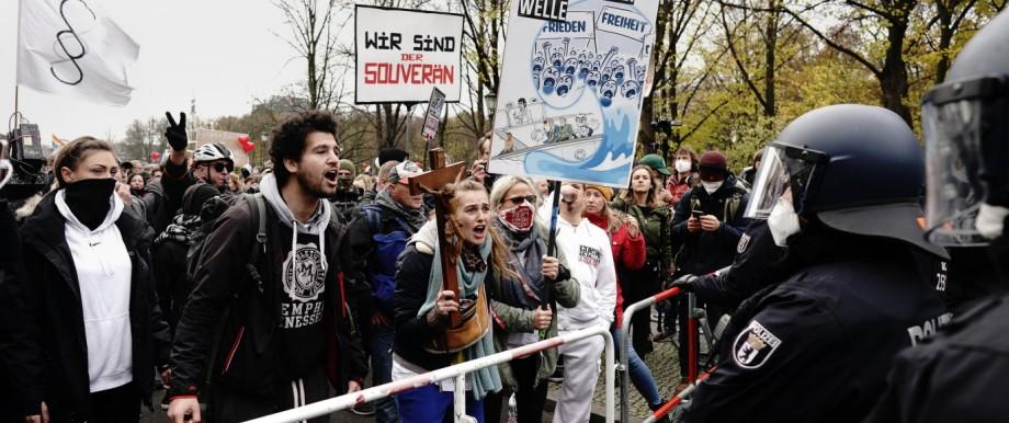 Demonstration gegen Corona-Einschränkungen