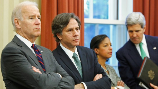 FILE PHOTO: Biden, Blinken, Rice and Kerry listen as Obama and Al-Maliki address reporters after their meeting at the White House in Washington