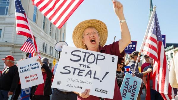 November 7, 2020, Harrisburg, Pennsylvania, USA: Trump supporters gather outside the Pennsylvania State Capital buildin