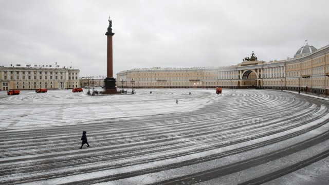 A view shows Palace Square after snowfall in central Saint Petersburg