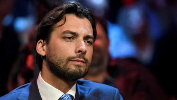 FILE PHOTO: Dutch politician Thierry Baudet of the Forum for Democracy party looks on before a televised debate moderated by journalist Jeroen Pauw, on the eve of European elections in Amsterdam
