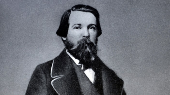 Portrait of Friedrich Engels (1820 - 1895) a German social scientist, author and political theorist. He and Karl Marx f