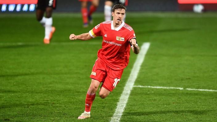 Max Kruse (Union), jubelt nach seinem Tor zum 3.3 1. FC Union Berlin - Eintracht Frankfurt 1.Bundesliga 2020/2021, Sais
