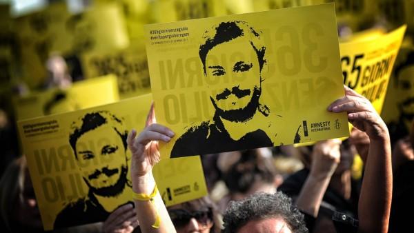 Manifestation of Amnesty International all Universita La Sapienza one year after the death of Juliu