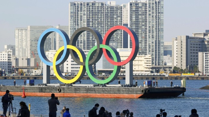 Reinstallation of Olympic rings in Tokyo Bay The Olympic rings are being transported ahead of their reinstallation in T