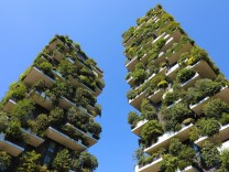 Modern and ecologic skyscrapers with many trees on every balcony. Bosco Verticale, Milan,