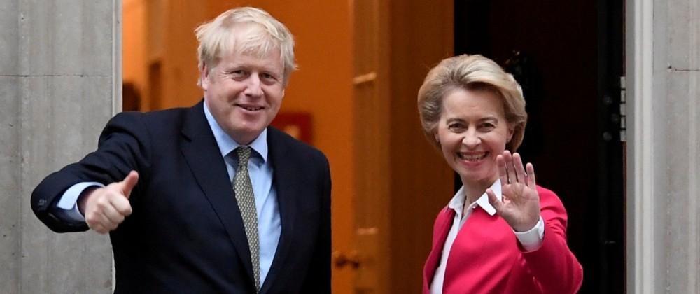 FILE PHOTO: Britain's PM Johnson meets European Commission President von der Leyen in London