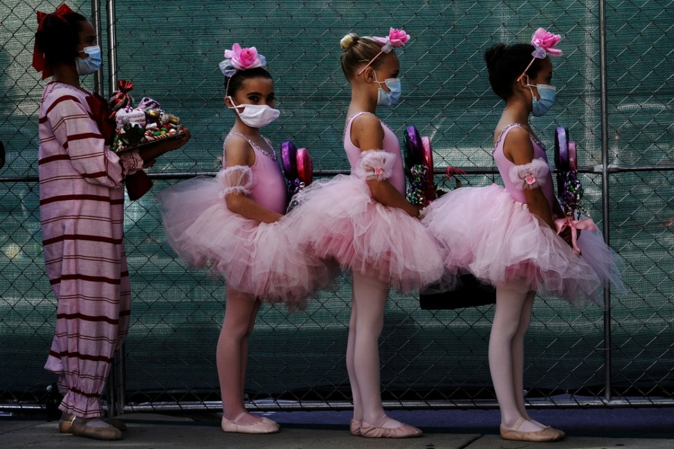 Backstage at San Diego Ballet's performance of 'The Nutcracker' in a parking lot in San Diego