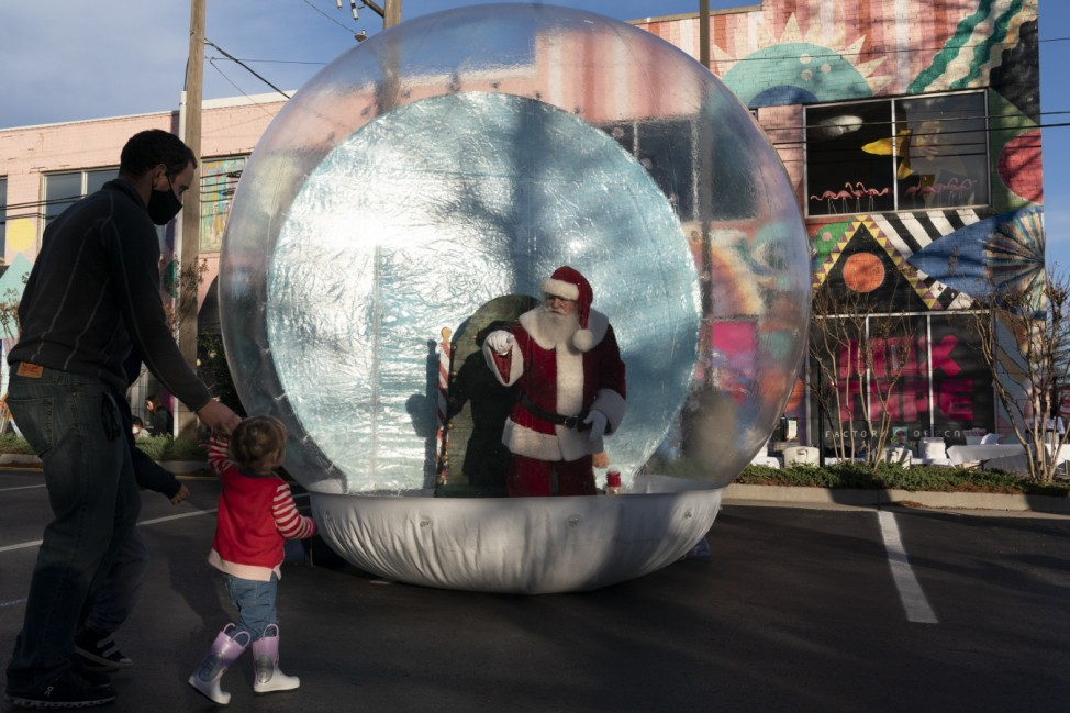 Bubble Santa Appears At Lights On Broadway Event