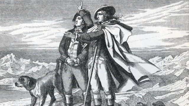 Carl August und Johann Wolfgang Goethe in der Schweiz. Historische Illustration aus Otto von Leixner: Illustrirte Geschi