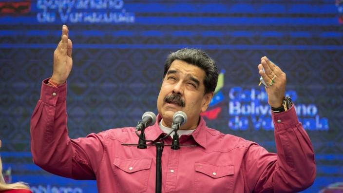 Wahl in Venezuela 2020: Präsident Nicolas Maduro bei einer Rede nach der Wahl