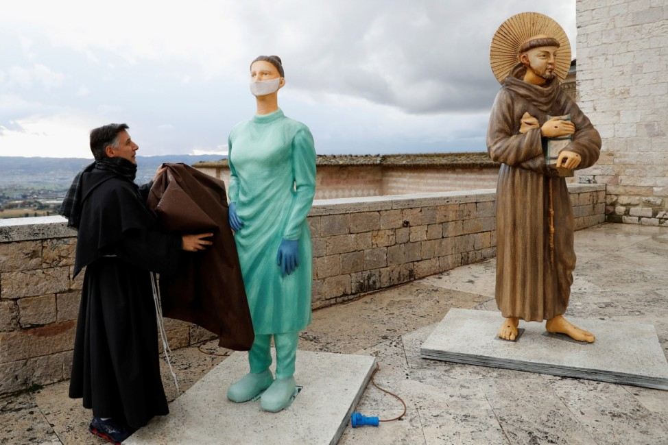 Assisi honours medical workers with nurse figurine in nativity scene