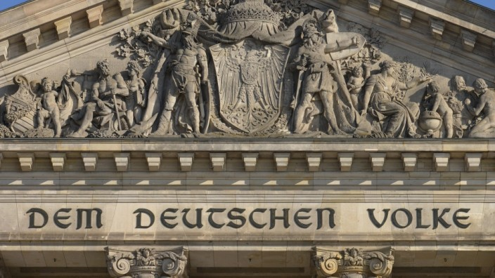 Fresko, Hauptportal, Reichstag, Tiergarten, Berlin, Deutschland Fresko Hauptportal Reichstag Berlin Deutschland