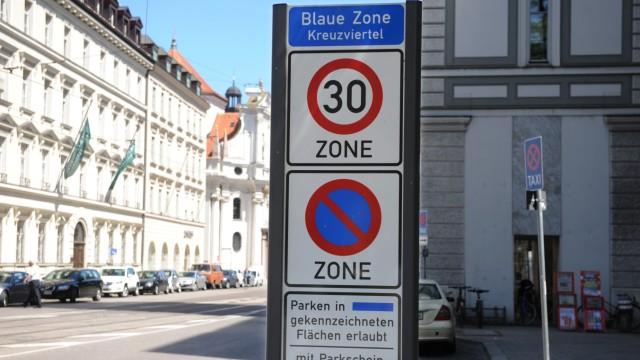 Blaue Zone Kreuzviertel in München, 2011