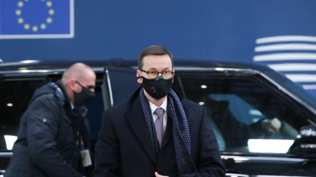 """Kompromiss im Haushaltsstreit: """"Ungerechtfertigt attackiert"""": Polens Premierminister Mateusz Morawiecki verteidigte bei seiner Ankunft in Brüssel das Veto gegen die Finanzplanung der EU."""
