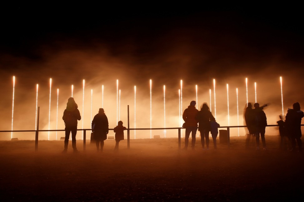 People enjoy The Land of Light show at Longleat House, in Warminster