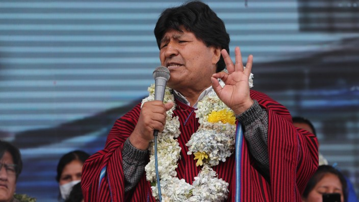 Former Bolivian President Evo Morales participates at a rally in El Alto, Bolivia, 03 December 2020. Morales returns fo