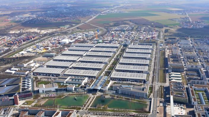 Luftaufnahme der Messe München in Riem, 2019