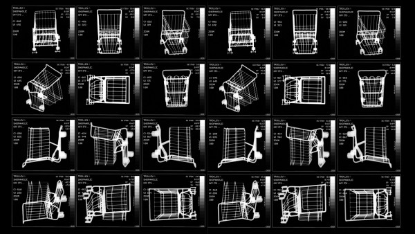 Shopping trolley in various positions, X-ray Shopping trolley in various positions, X-ray. *** Shopping trolley in vario