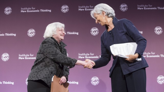 Lagarde speaks about global finance during a conference