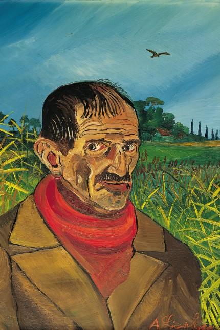 Antonio Ligabue , Autoritratto con sciarpa rossa, 1958